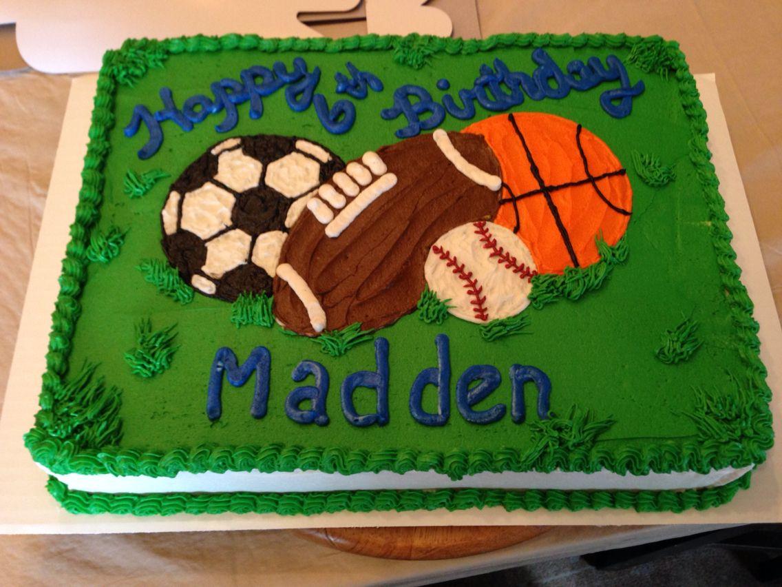 Outstanding Multi Sport Theme Cake Sports Themed Cakes Sports Birthday Birthday Cards Printable Benkemecafe Filternl