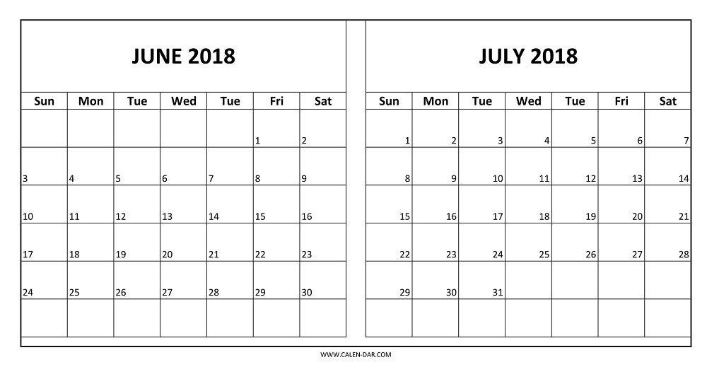 Two Month June And July 2018 Calendar Image 2018 Calendar
