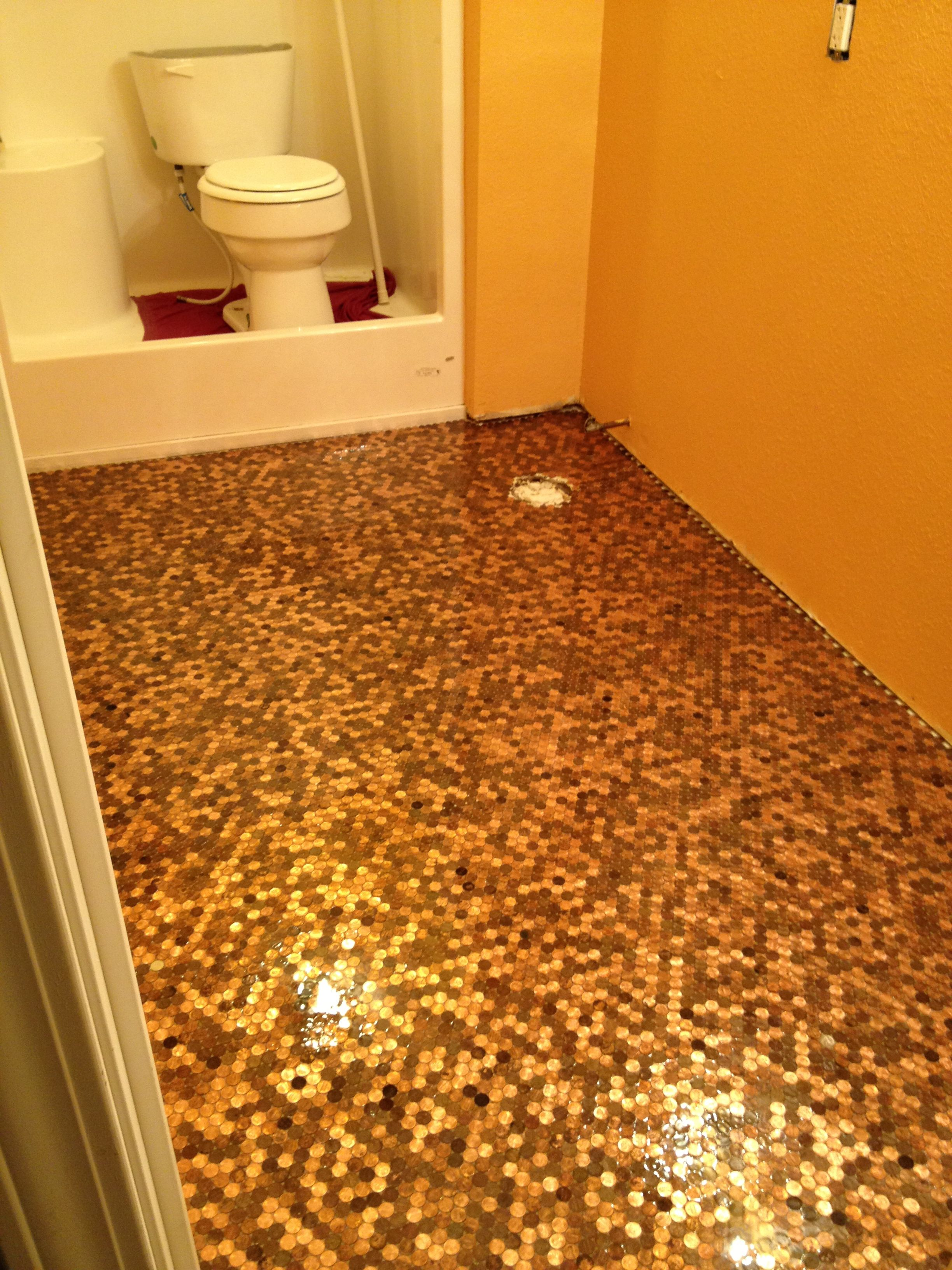 This Is My Own Penny Floor This Was Taken Before The Polyurethane