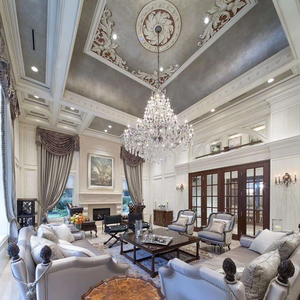 Stunning 2 Story Great Room Homes Mansion Mansions Luxury Lifestyle Architecture Realestate Great Rooms Mansion Living Room Luxury Interior Design Million dollar homes living rooms