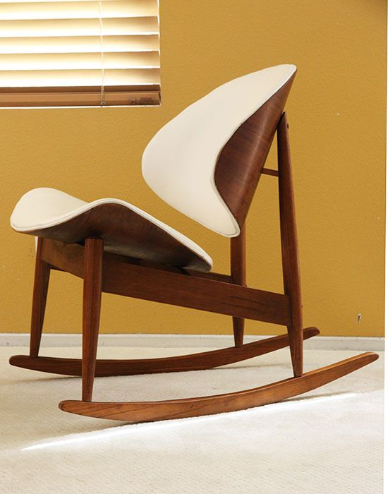 kodawood rocking lounge chair mid century danish modern eames finn juhl style - Mid Century Modern Furniture Miami