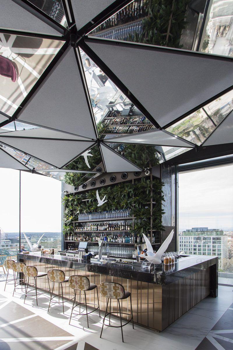 Ginkgo Sky Bar Madrid Hotel Bar Design Rooftop Bar Design Luxury Bar