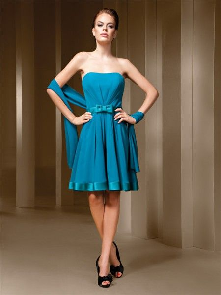 A Line Strapless Turquoise Blue Chiffon Short Party Bridesmaid ...