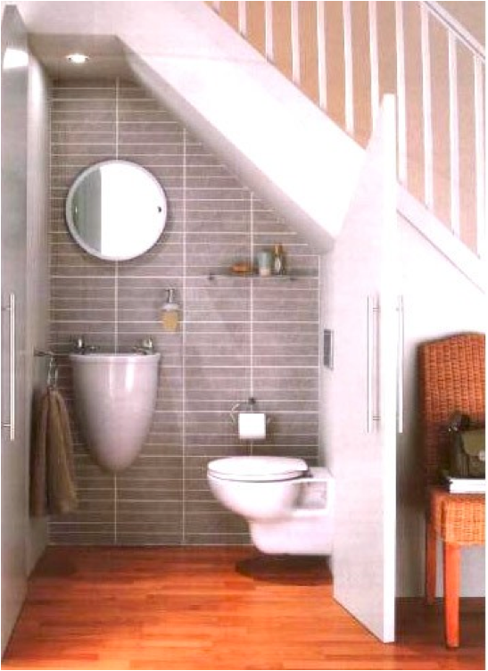 Merveilleux Using Space Beneath The Staircase To Design A Small Bathroom Ideas Under  Basement Stairs Bathroom