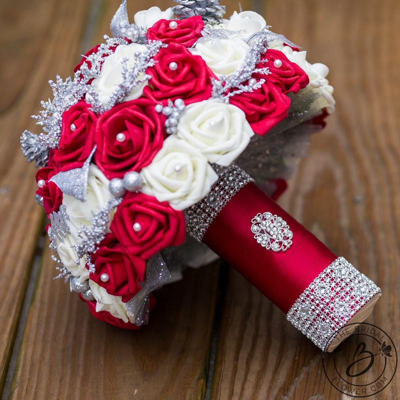 Red and cream holiday bouquet with silver glitter accents, 9.5 ...