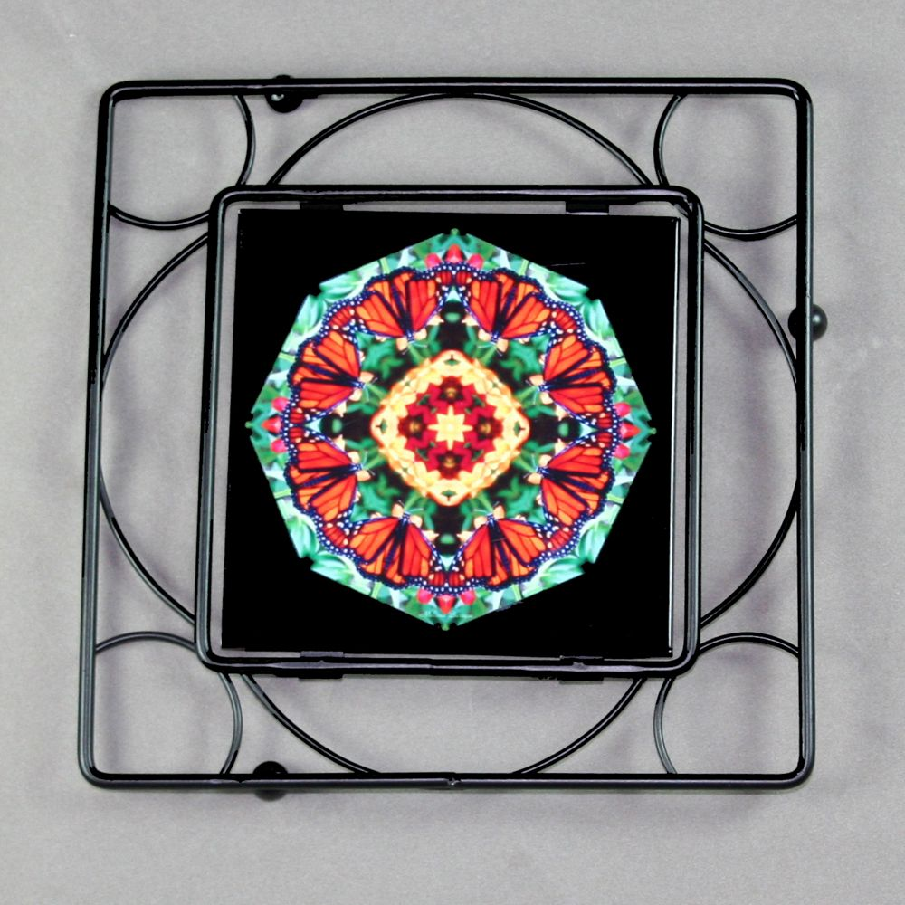 Monarch butterfly trivet black iron with ceramic tile center sacred butterfly trivet black iron mandala sacred geometry kaleidoscope summer solace dailygadgetfo Gallery