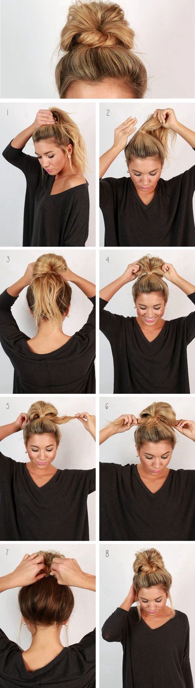 For an easy back got school messy bun coiffures pinterest