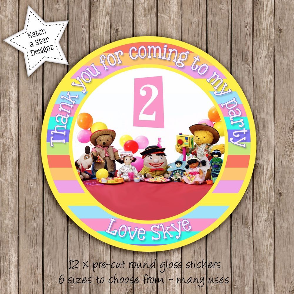 Play school personalised round circle gloss party stickers x 12