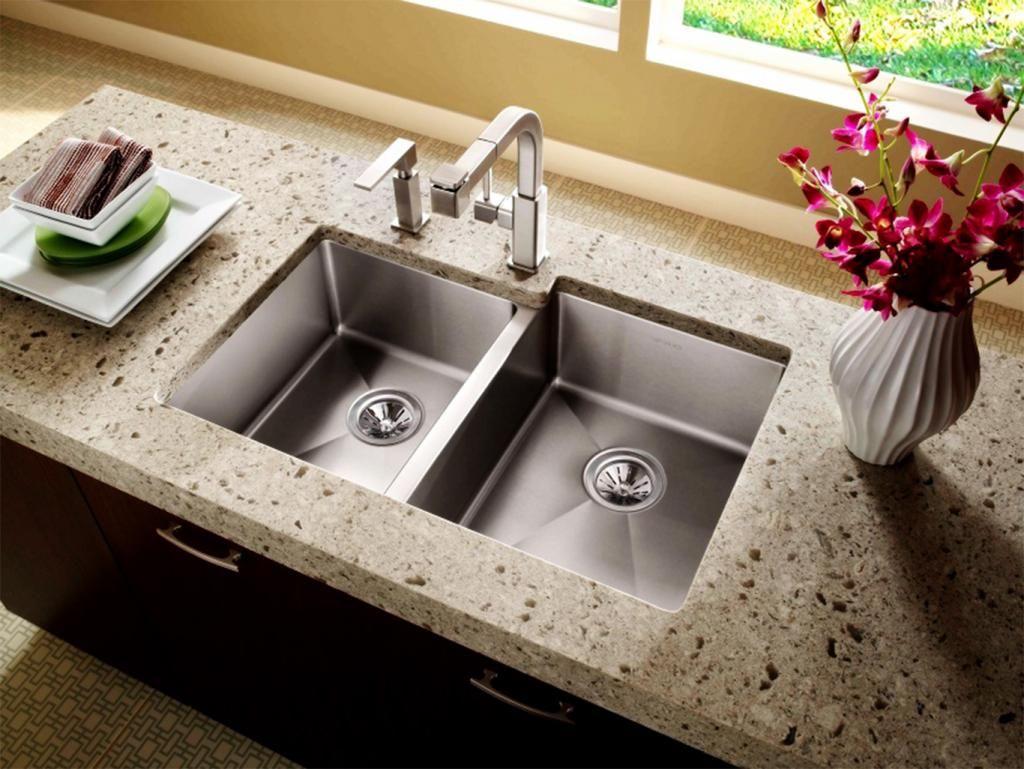 Stainless Steel Undermount Double Bowl Kitchen Sink Granite