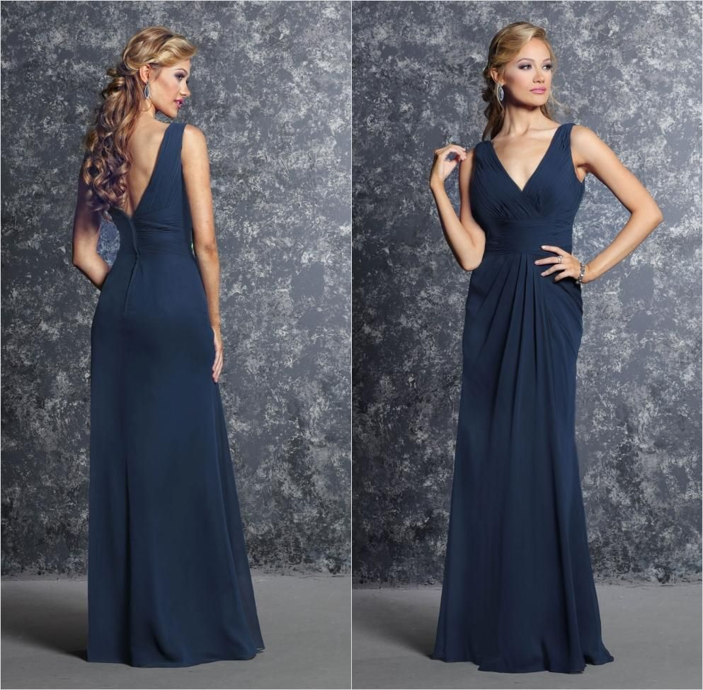Navy blue v neck mermaid bridesmaid dresses long elegant chiffon buy wholesale latest bridesmaid dressesmerlot bridesmaid dresses along with modest bridesmaids dresses on dhgate ombrellifo Image collections