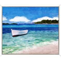 "Coastal Boat I 26"" Wide Framed Giclee Wall Art"