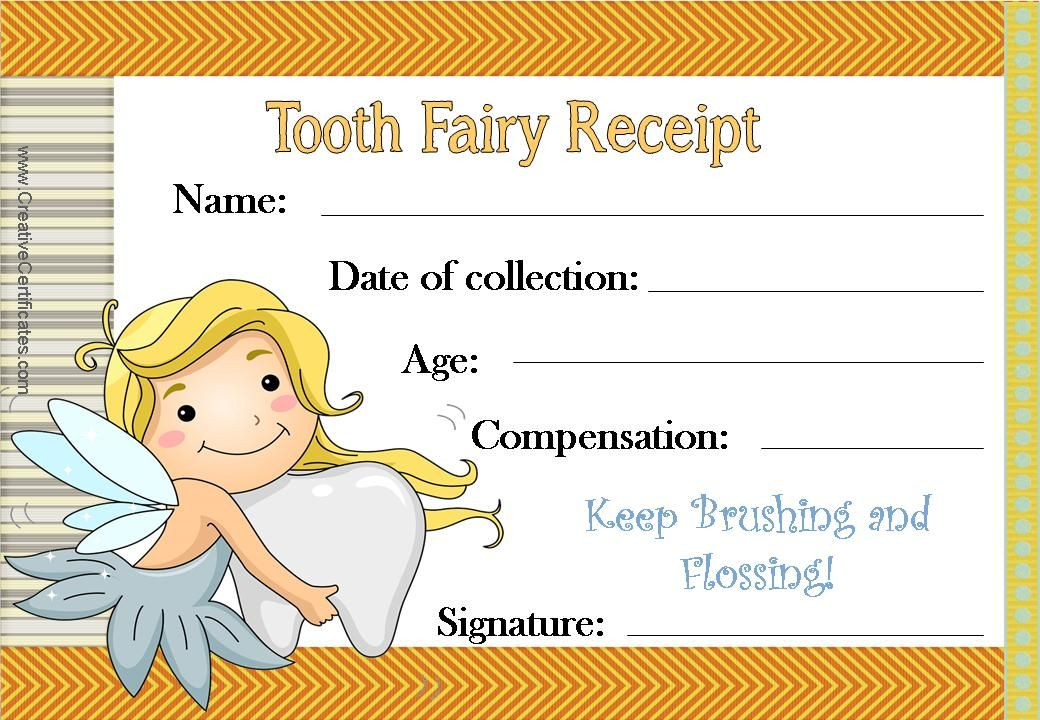 Tooth Fairy Certificate With An Orange Border And An Image Of The
