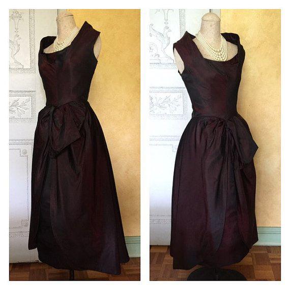 1950s Party Dress 50s Ceil Chapman Vintage Dress Maroon black ...