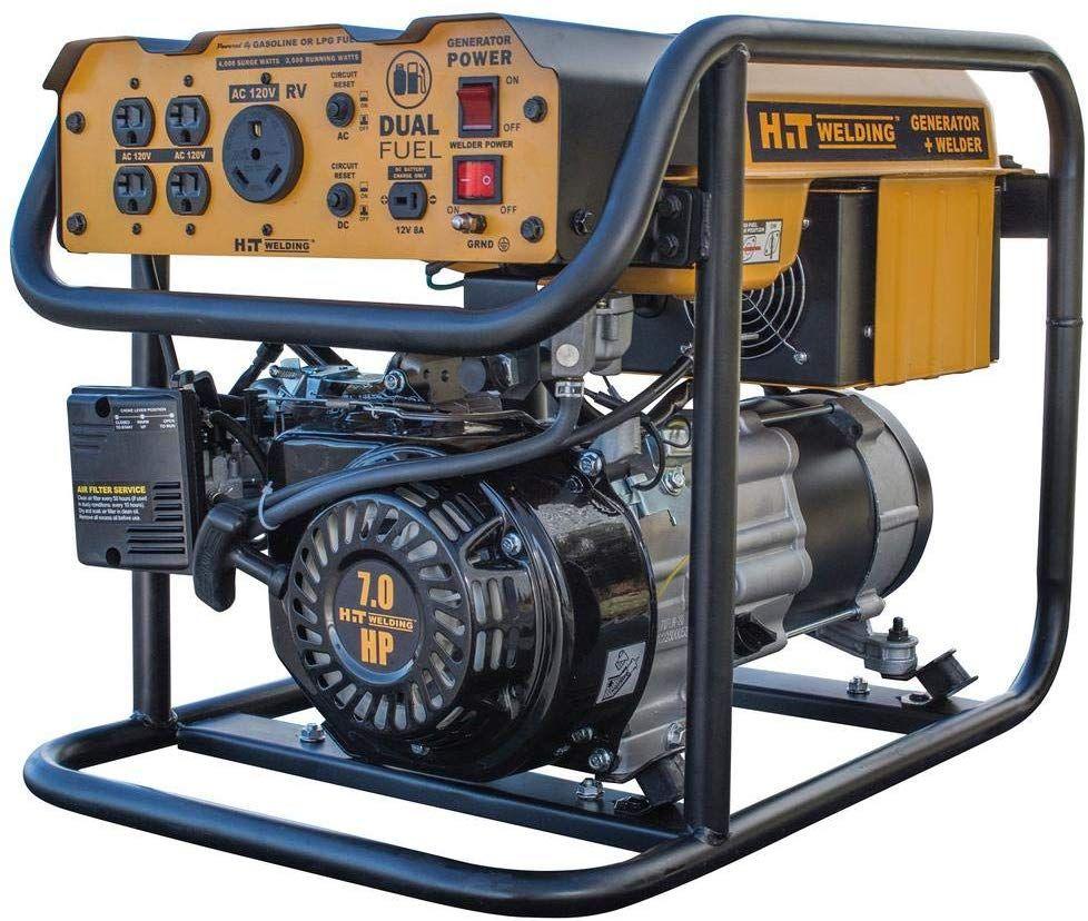 Hit Welding 4 000 3 500 Watt Dual Fuel Powered Portable Generator With Stick Welder Tig Ready