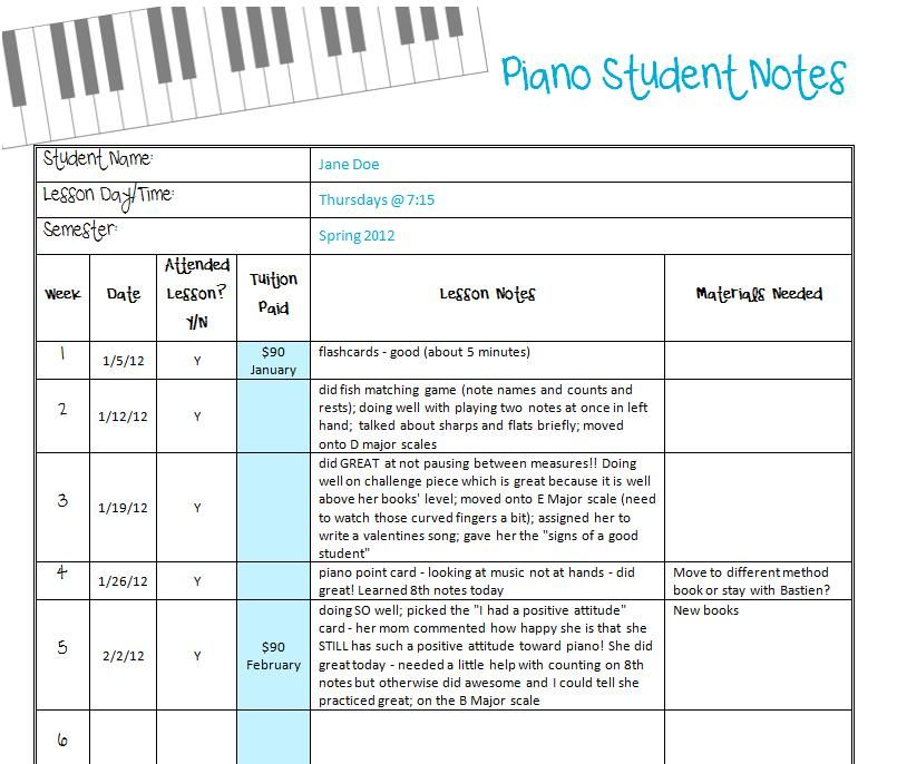 New Printable Student Notes Records With Images Piano