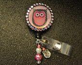 Pink Owl Retractable ID Badge Holder, ID Holder Reel, ID Clip, Medical, Nursing,Office, Doctor