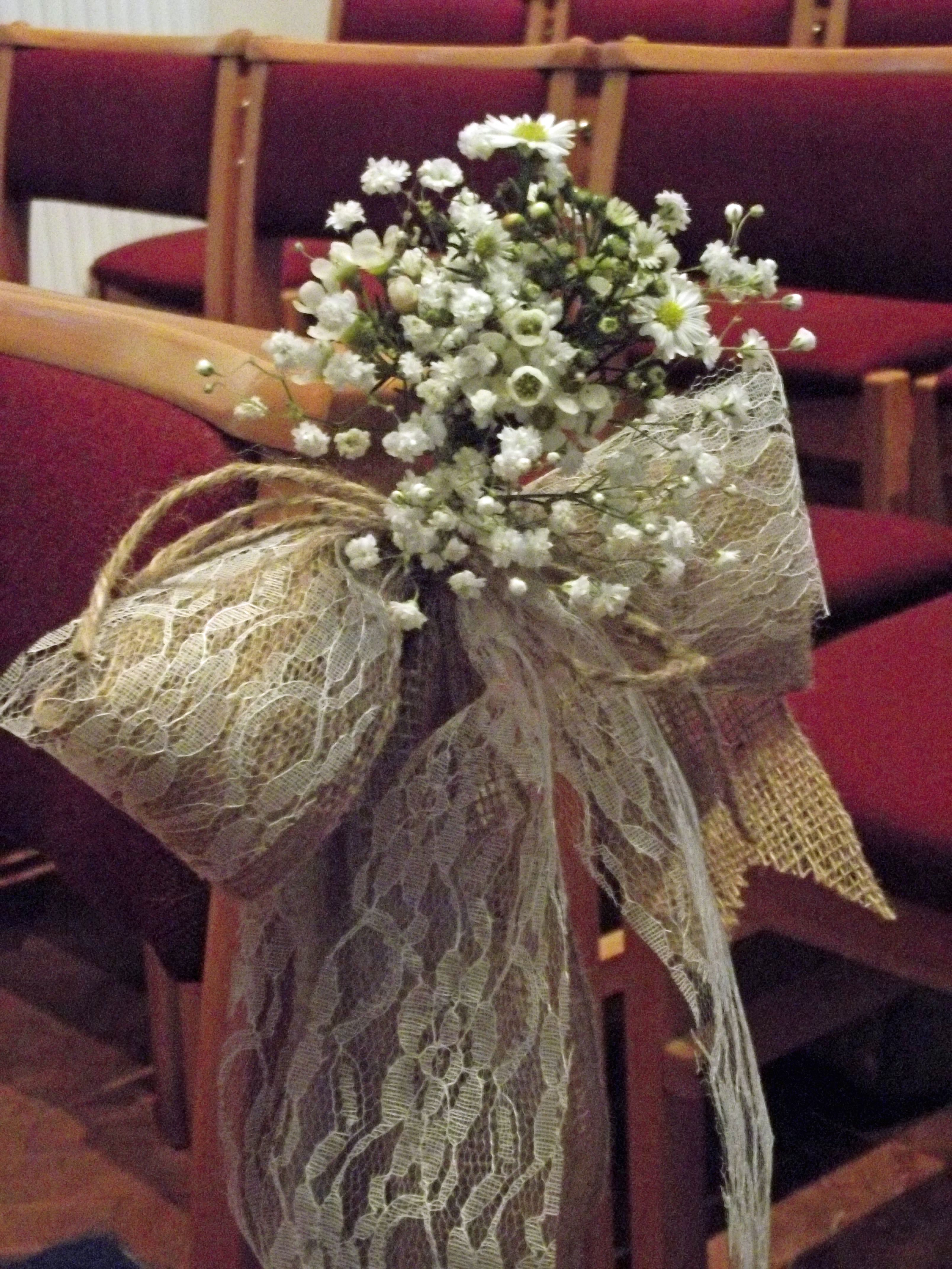 wedding chair covers cardiff side coffee table hessian and lace ribbon bows with gypsophila wax
