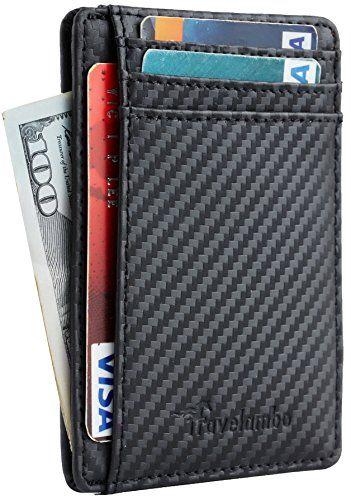 d4d792c119f  9.99 - Travelambo Front Pocket Minimalist Leather Slim Wallet RFID Blocking  Medium Size Slim Wallet