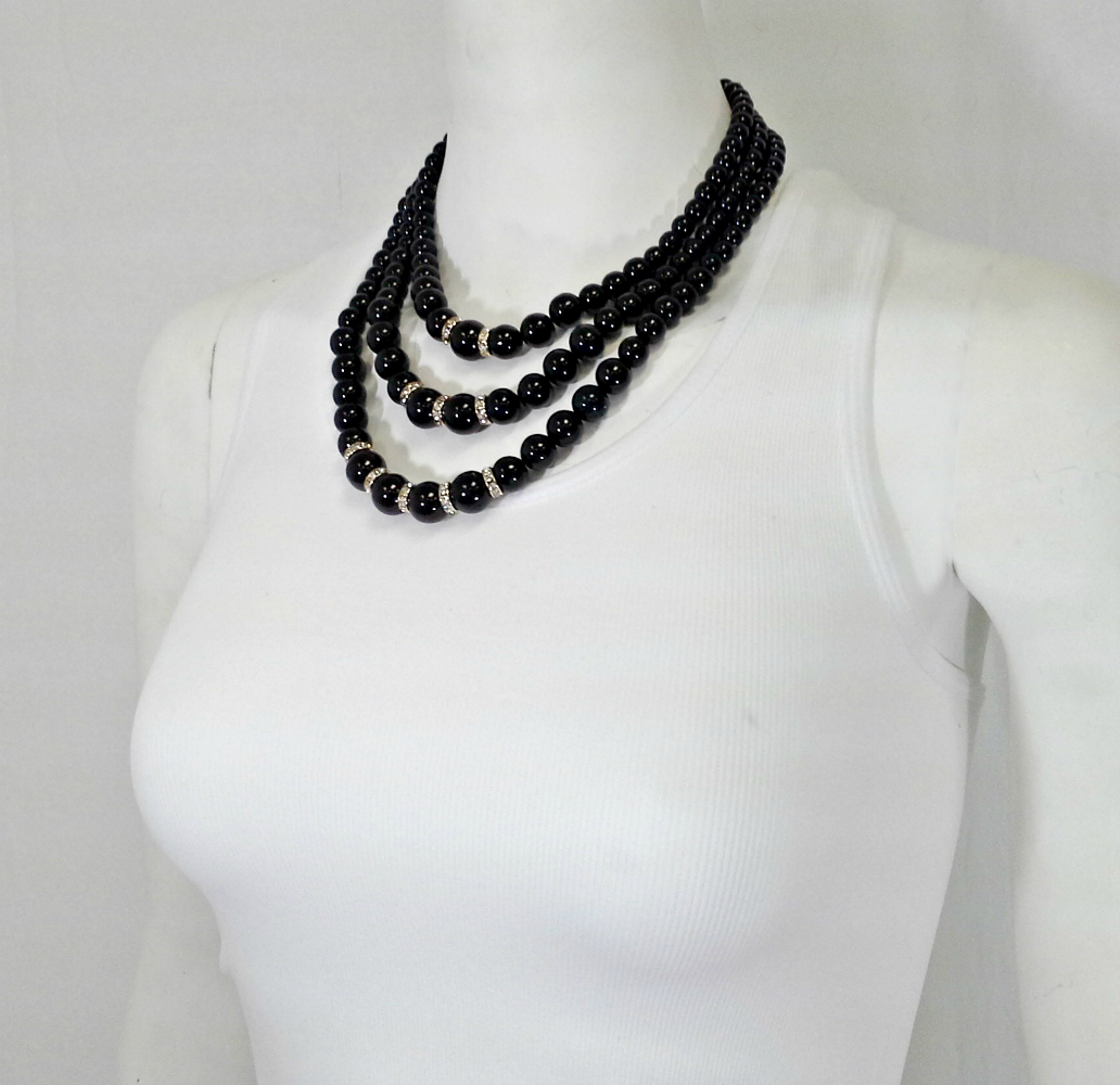 "Necklace is a Classic Set of Triple Loop of ""Pearls"". Black with Touches of Gold. - $5 Fashions"