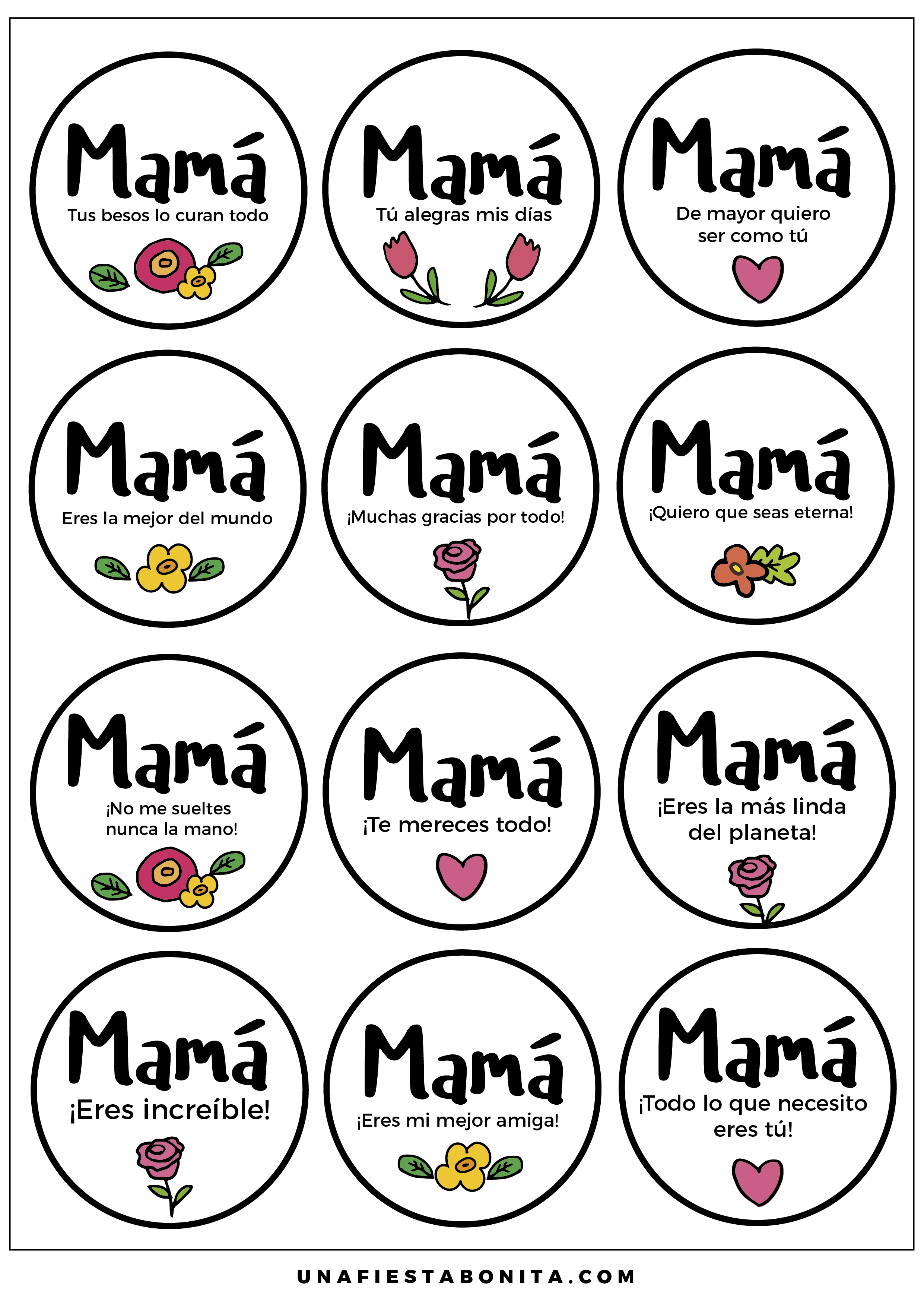 Toppers y frases para el dia de la madre etiquetas - Regalos para el cumple de tu madre ...