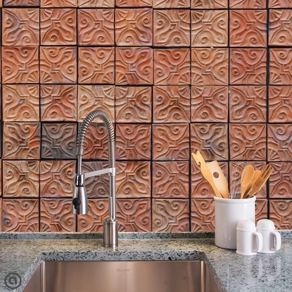Clay Tiles Removable Wallpaper Kitchen Backsplash Peel And Stick Temporary Wallpaper