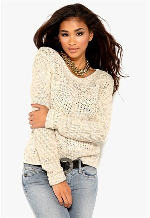 Mixed from Italy Crew Neck Cable Jumper Kerma
