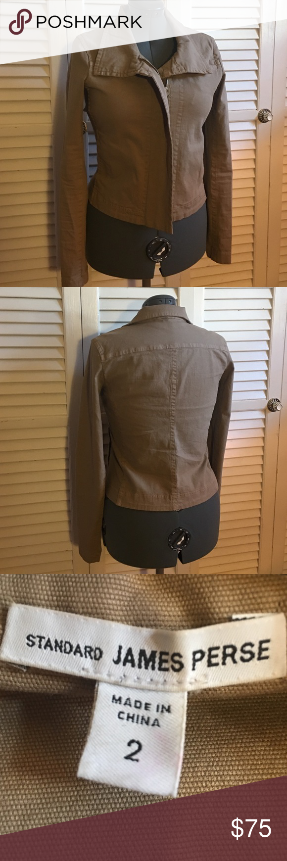 "James Perse Asymmetrical Zippered Moto Jacket Standard James Perse Asymmetrical Zippered Moto jacket in Khaki. Size 2. Long sleeved, Zippered moto jacket with flattering collar. In gently worn, preloved condition with no imperfections. Originally $325. I DO NOT MODEL LISTINGS, measurements approx. 21.5"" length, 25"" arm length, 17"" from armpit to armpit. Love the item but not the price? Please make offers using the offer button. 🚫POSH ONLY, NO TRADES OR COMMENT OFFERS🚫 James Perse Jackets…"