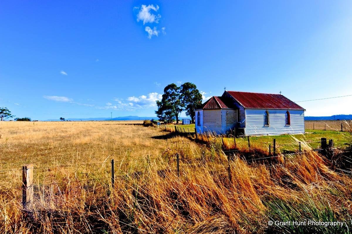 #325 - Beautiful colours of an old weatherboard Church, Tamar Valley — in Tasmania, Australia.