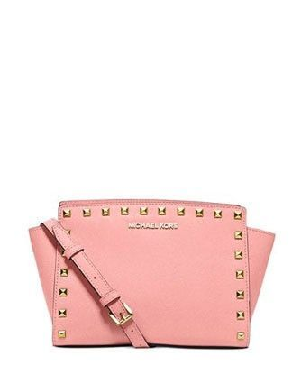 60c704929837 Pale Pink · Gorgeous classic studded leather messenger bag by MICHAEL  Michael Kors! Striking the perfect balance between