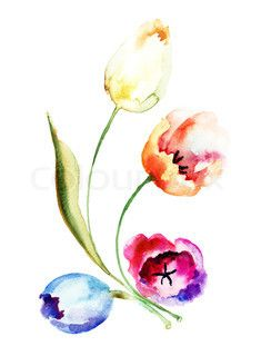 Tulip watercolor tattoo... Hmmmmmmmmm... The one in the middle would be beautiful.