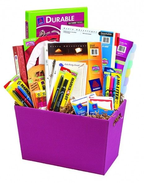 give a teacher an anonymous basket of school/office supplies