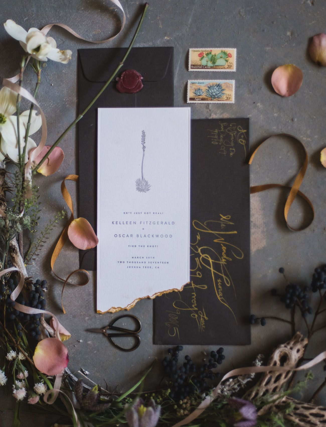 Love in the Desert: Edgy + Electric Elopement Inspiration ...