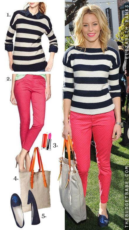 2e2ee395420dc Dress by Number  Elizabeth Banks  Striped Sweater and Loafer Flats - The  Budget Babe