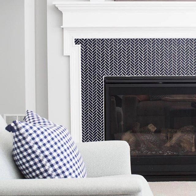 Small Herringbone Tile/fireplace Surround/navy Blue