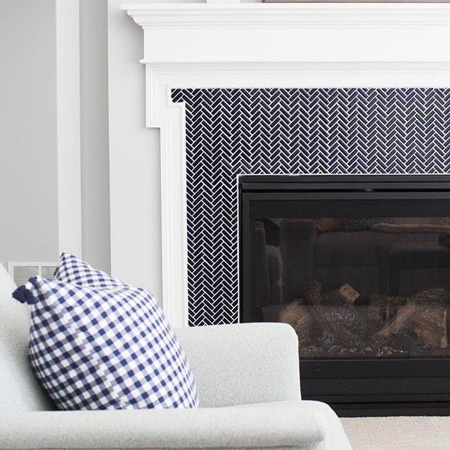 small herringbone tile/fireplace surround/navy blue herringbone ...