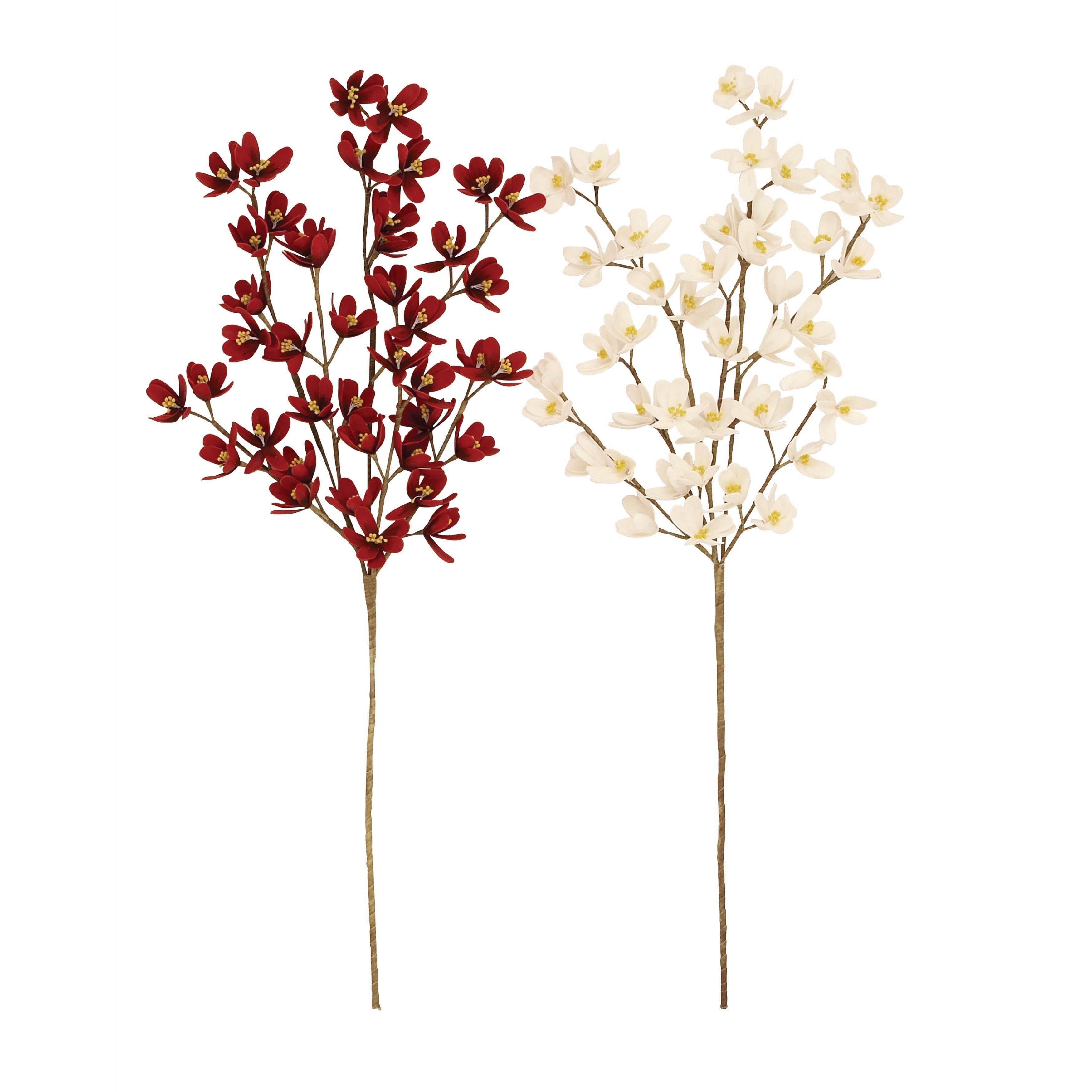 Studio 350 Dogwood Red And White Artificial Flowers Set Of 2