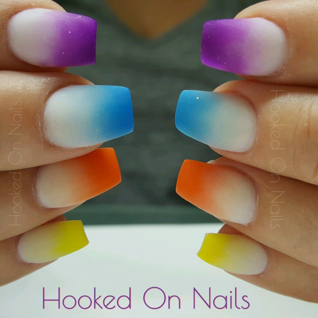 Neon highlighter tips nails bright colored nails ombre nails ...