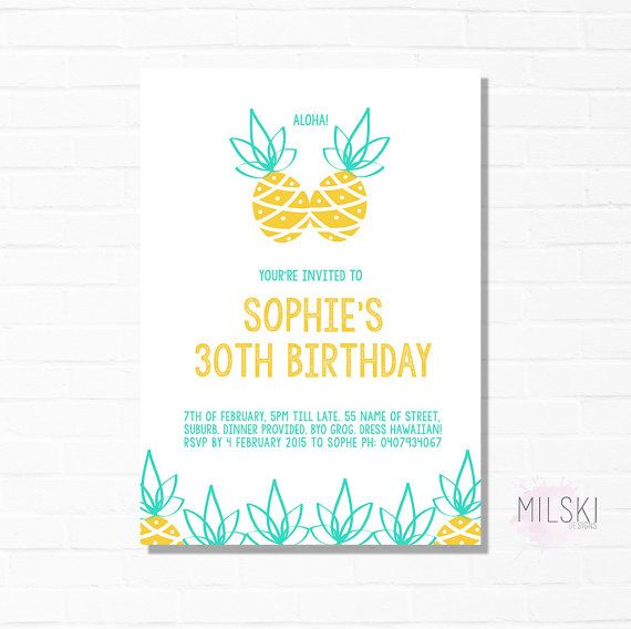 Pineapple birthday party invitation 30th by milskidesigns pineapple birthday party invitation 30th by milskidesigns filmwisefo Choice Image
