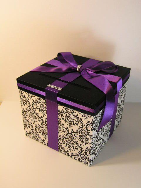 Damask Wedding Card Box Gift Card Box Money Box Holder-Customize ...
