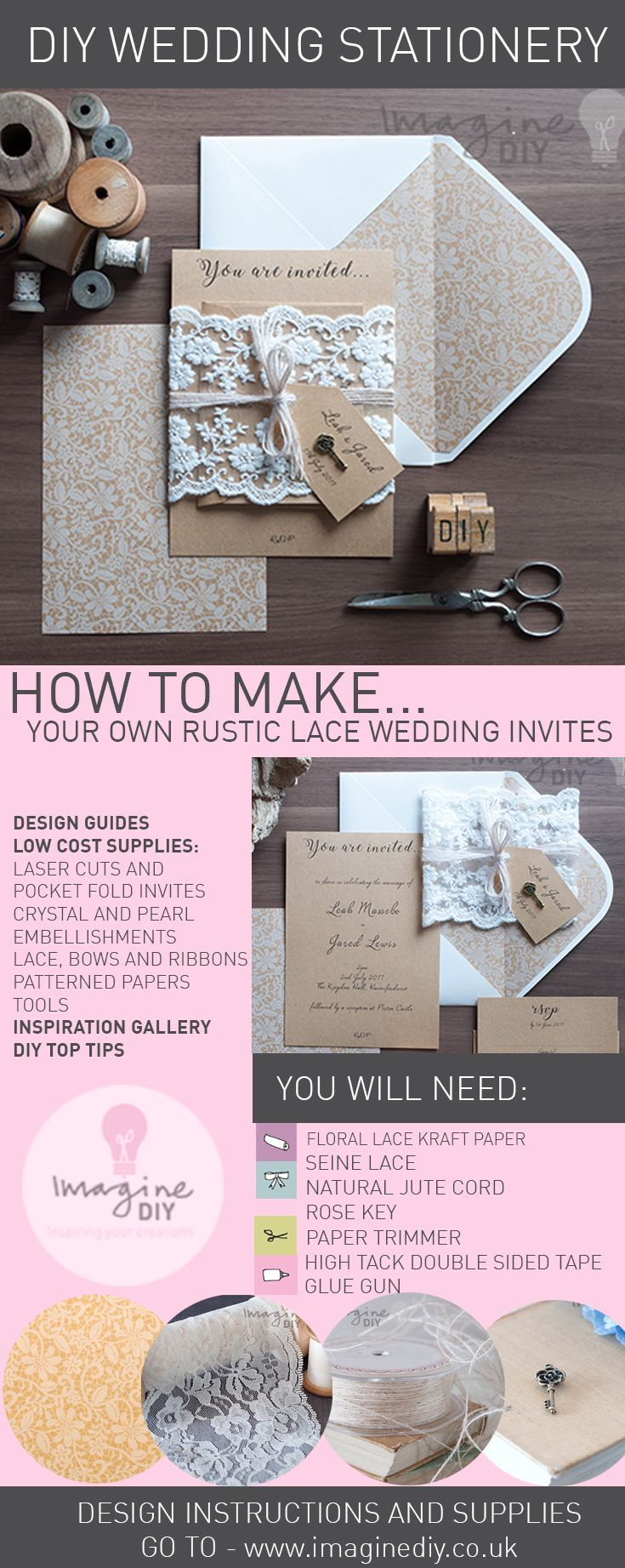 How to makerustic kraft and lace wedding invitations diy
