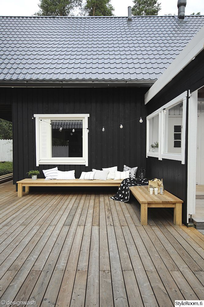 Photo of Courtyard, terrace, terrace decoration, patio furniture, larch, wooden house, black …