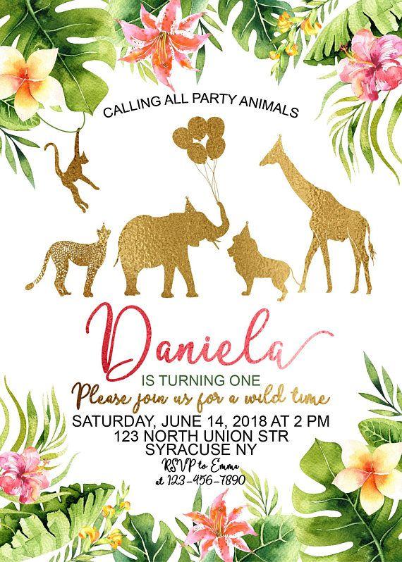 Jungle Birthday Invitation Gold Safari Birthday Invitation Safari