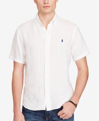 POLO RALPH LAUREN Polo Ralph Lauren Men S Short-Sleeve Linen Shirt.   poloralphlauren  cloth  down shirts 9c23c9f73646