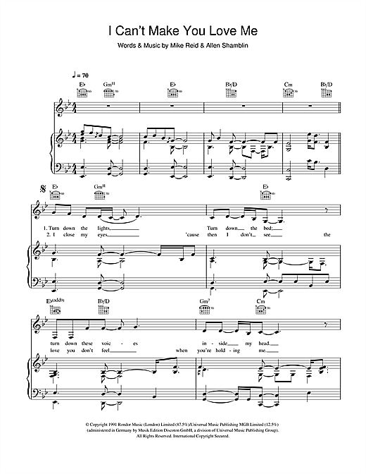 Adele 'I Can't Make You Love Me' Sheet Music Notes, Chords