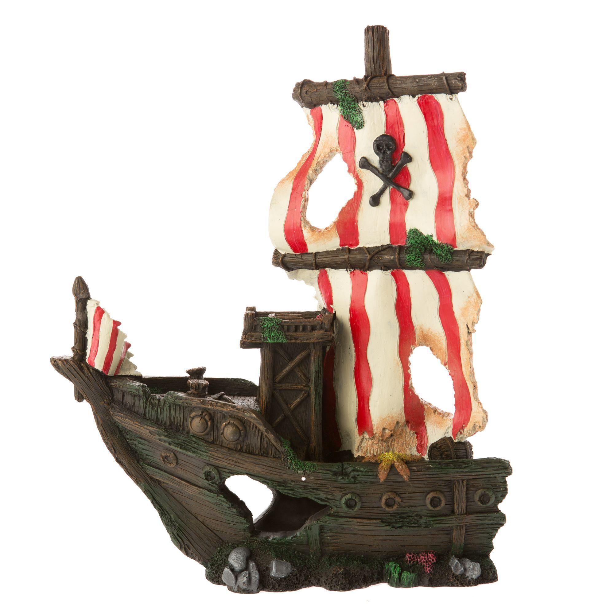 Top Fin Sunken Pirate Ship Aquarium Ornament Products Aquarium