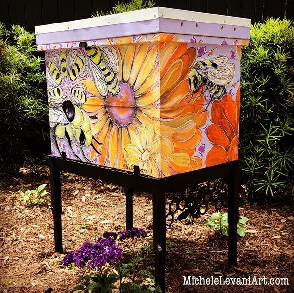 Imagine the lucky colony that lives here is part of Bee hives boxes, Bee keeping, Bee hive, Painted bee hives, Backyard bee, Bee boxes - I just love it when people go crazy with their hive design or decoration  This Layens hive was painted by Michele Levani of Charleston, South Carolina  She explains I'm a professional artist and muralist  A client just hired me to paint a scen [   ]