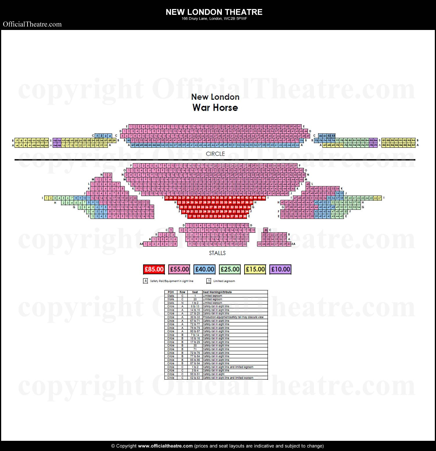 New London Theatre Seating Plan And Price Guide London Theatre London New London