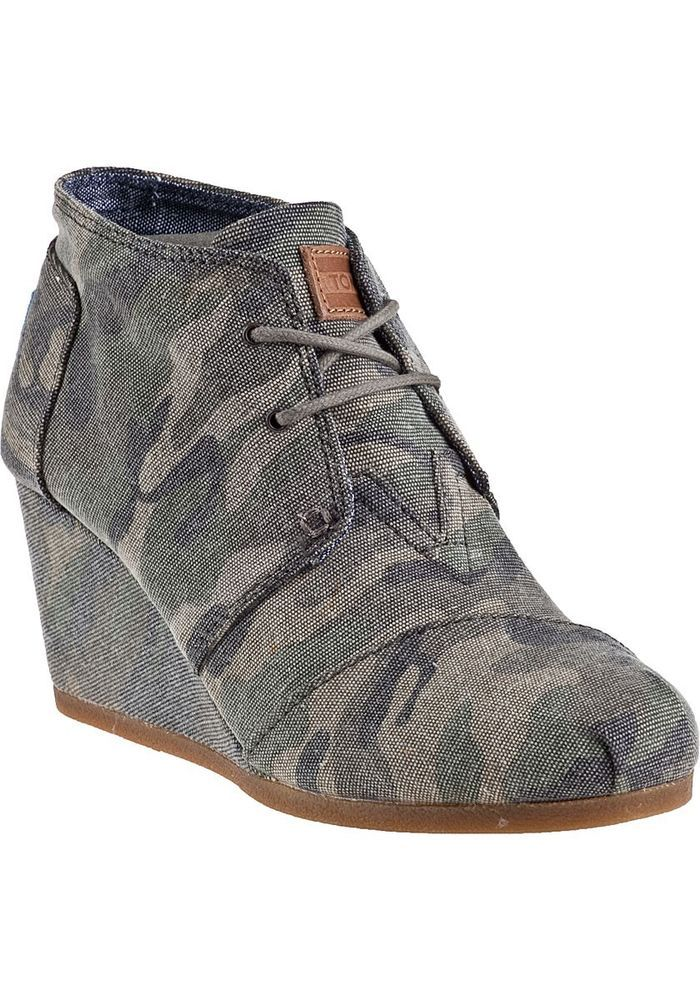 874560787fdcd TOMS Classics Women's Desert Wedge Washed Camo Canvas Shoes #TOMS  #PlatformsWedges