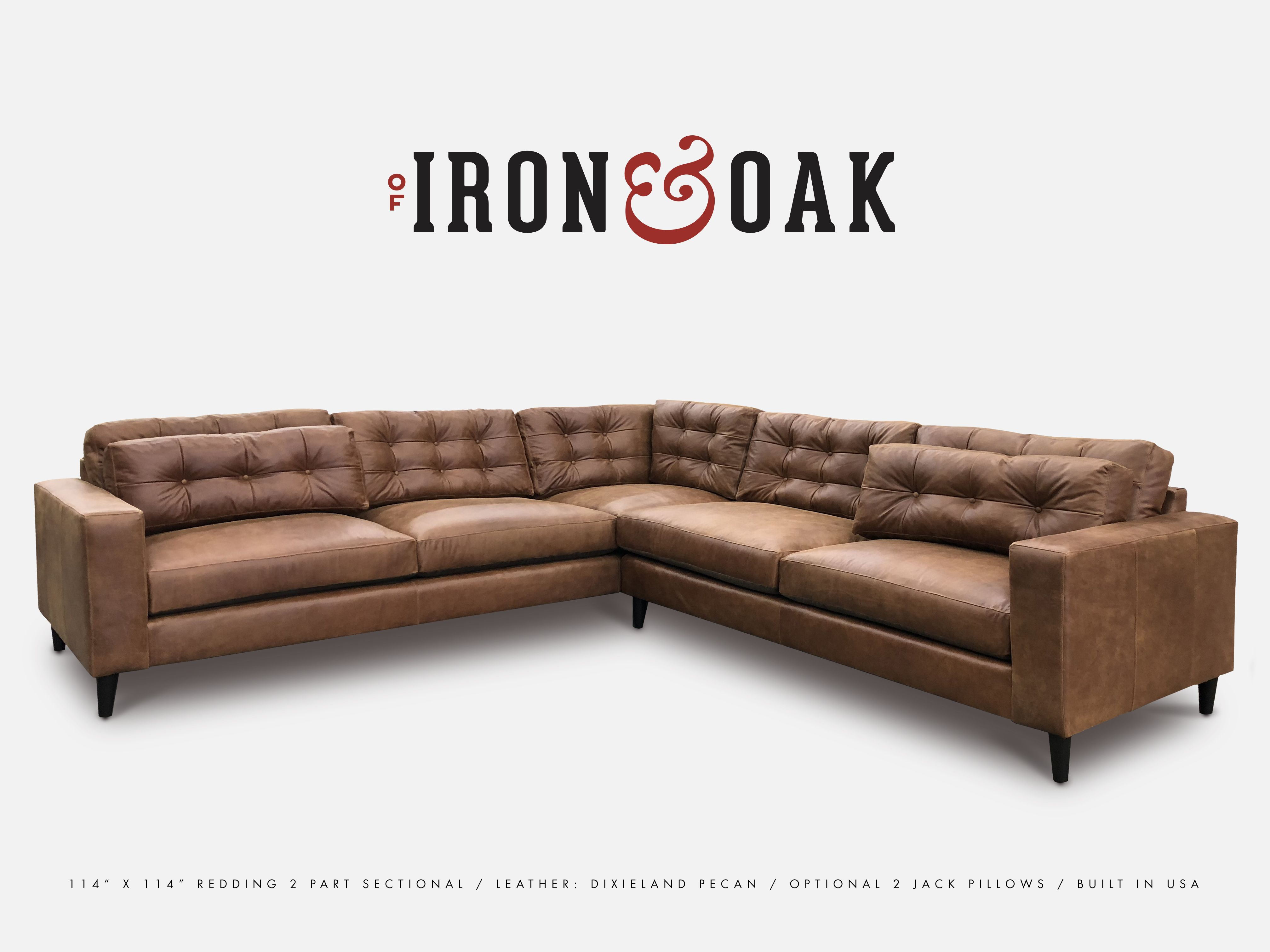 This Redding Sectional Sofa Measures 114 X 114 And Is Built To Perfection By Of Iron And Oak Features High Bac With Images Sectional Leather Sectional Custom Furniture
