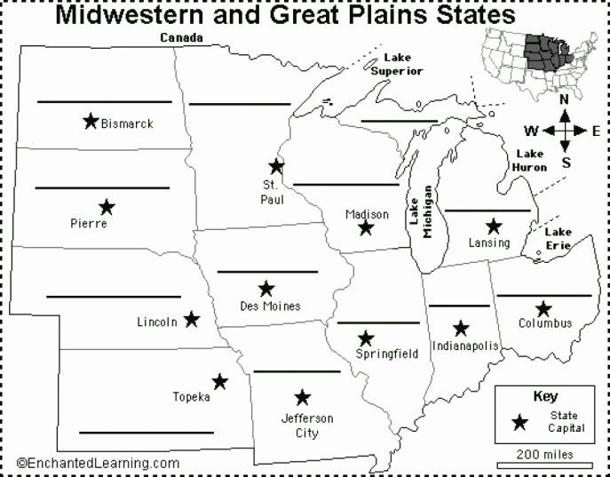 State Capitals Quiz Printable Printable Midwest Us States